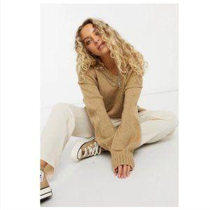 Free People Brookside Oversized Cozy Drop Sleeve Tunic Sweater in Desert Camel